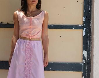 Pink vintage cotton midi skirt.size s
