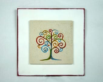 Porcelain plaque tree of life colored with white base/Red