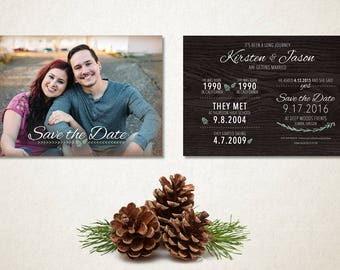 How they met - DOUBLE SIDED - Save the Date - 5x7in - Printable