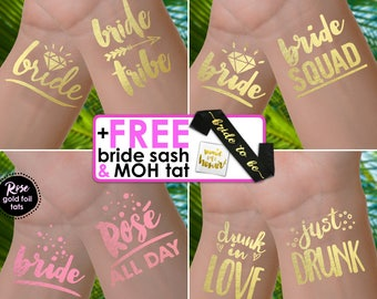 Bachelorette party tattoos | bachelorette tattoos, bride tribe tattoos, bachelorette tattoo, bridesmaid gifts, gold foil tattoos, hen do