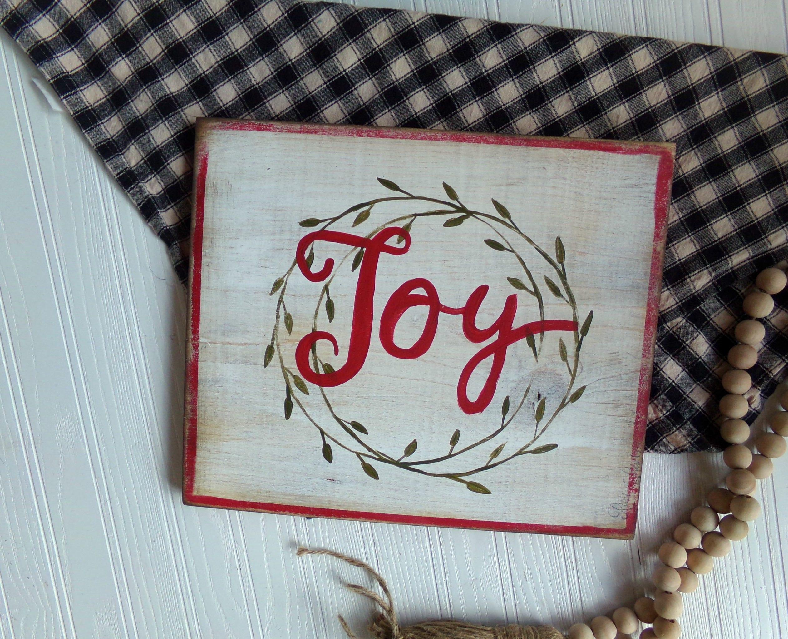 Joy Christmas Sign, Joy to the World Sign, Rustic Christmas, Holiday ...