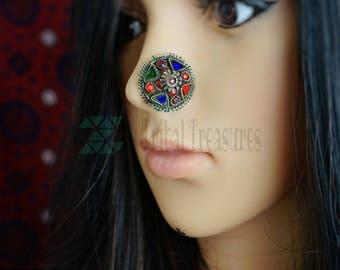 Kuchi nose pin,Afghan nose stud,Brass nose stud,Nose pin,Nose ring,Nose piercing,Tribal body jewelry,Nose stud,Gypsy nose ring,Nose jewelry