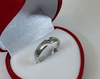 17.8 mm ring silver 925 Crystal stone blue SR690