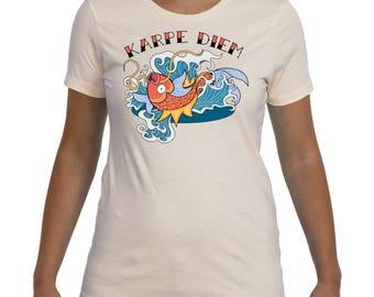 Women's Magikarp Pokemon Carpe Diem Japanese Koi Tattoo Geek T-Shirt