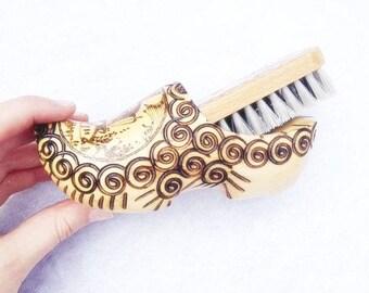 Vintage Wooden Shoe Brush Set Hand Carved Shoe 6x3 Inches Vintage Wooden Brush Set