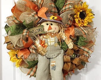 Fall Wreath, Fall Scarecrow Wreath, Welcome Wreath, Scarecrow Wreath, Thanksgiving Wreath, Autumn Wreath, Fall Decor, Sunflower Wreath