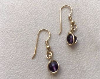 goldfilled petite dangle earring with amythest bead