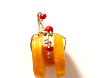 Wire-Wrapped Orange Pendant with Handmade Focal Bead
