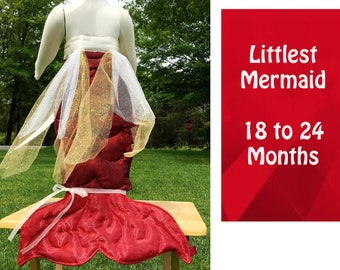 "18 to 24 Months Mermaid Tail - How CUTE is the Littlest MERMAID?  Baby Girl - Shimmering Tie On 22"" Mermaid Tail,  Flower Hair Wreath, Ariel"