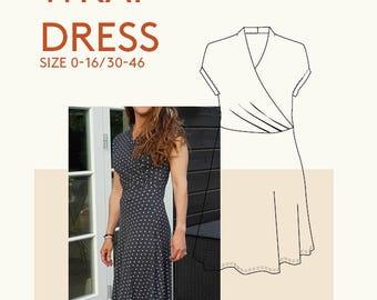 Sewing patterns wrap dress kimono PDF sewing pattern|ersey wrap dress pattern|wrap dress PDF sewing pattern