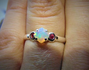 natural opal ring, ruby opal ring, faceted opal ring, cushion cut opal, fire opal engagement ring, sterling silver promise ring, ruby accent