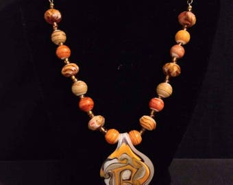 Gold & Black Dichroic Glass Pendant Necklace