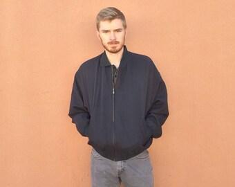 Vtg Silk Bomber Jacket men's LARGE Black Normcore Mod Minimalist Simple 4680