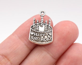 Bulk 30 Pcs Happy Birthday Charm Birthday Cake Charms Pendants Antique Silver Tone 15x22mm - YD0723