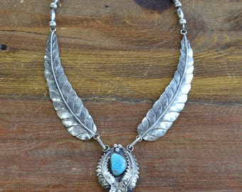 Handmade Sterling Silver and Turquoise Southwest Necklace