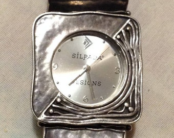 """Vintage 925 Silpada T1732 Square Panel Hammered WORKING 7.5"""" Ladies Women's Watch, Retired Silpada Sterling Japan Movt Wrist Watch 4871"""