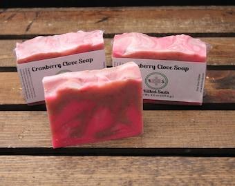 Cranberry Bar Soap, Clove Bar Soap, Fruit Bar Soap, Masculine Soap, Cranberry Soap, Vegan Soap, Vegan Bar Soap, Handmade, Natural Soap Bar