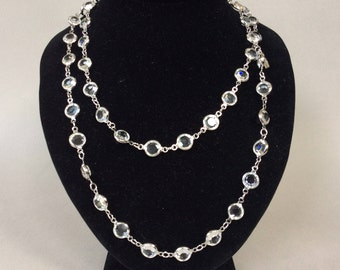 Swarovski Clear Open Bezel Crystal Silver Tone Necklace