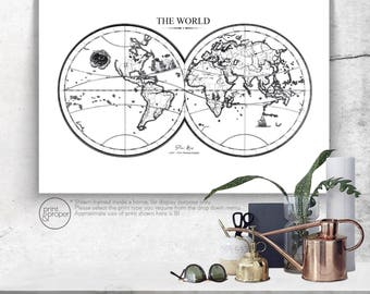 DOUBLE HEMISPHERE World Map 1500's Reproduction - Art Print Poster Canvas