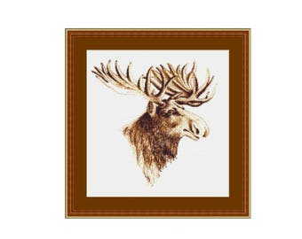 Moose Counted Cross Stitch Pattern / Chart,  Instant Digital Download (AP184)