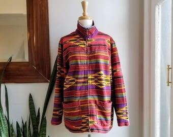 "90s Southwestern Jacket/Chicos Aztec Coat/Navajo Windbreaker/Native American Blazer/Mayan Bolero/Stand Up Collar/Size 2/28""Long/44""Chest"