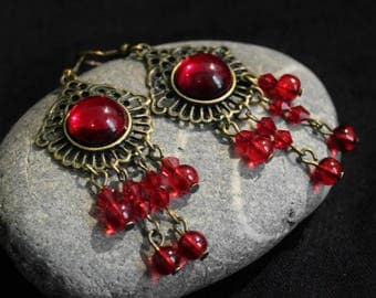 Earrings American ties with red glass beads and charms bronze metal