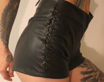 faux leather shorts size small