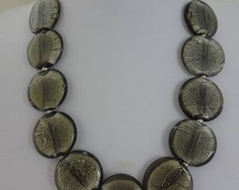 Vintage Murano Glass Necklace, Foil Glass Necklace, Grey Glass Necklace, Venetian Glass Necklace (N358)