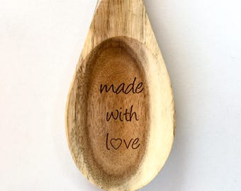 Wooden Serving Spoon, Made with Love, Spoon, Wooden Spoon, Large Serving Spoon, Holiday Entertaining, Thanksgiving Table, Thanksgiving Decor