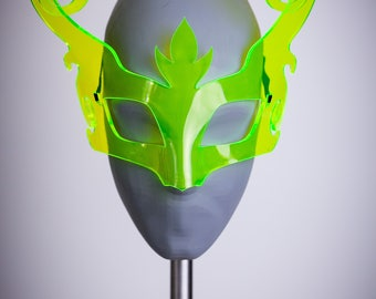 Sale! Horns Fairytale Masquerade Mask UV Green