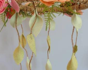 felt flower mobile fairy garden decor baby shower outdoor wedding decor nursery - Orange Garden Decor