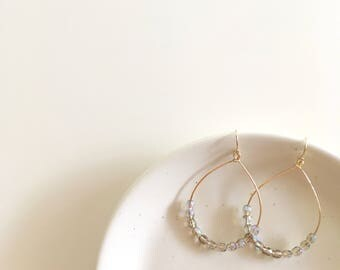 Beaded Hoop Earrings • 14k Gold-Filled • Glass Beads