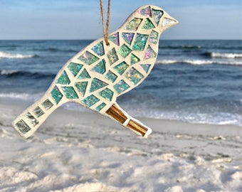 Stained Glass Mosaic Bird Ornament, Blue Bird, Stained Glass Ornament, Stained Glass Bird, Bird Suncatcher, Bird Ornament Christmas Ornament