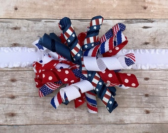 Independence Day Korker Bow // Fourth of July Korker Bow // Red White and Blue Headband // 4th of July Hair Bow // American Flag Headband