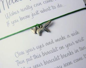Wish Bracelet - Fox Charm / Foxy Bracelet / Wildlife / Woodland Jewellery / Choice of colours / Wish Knots