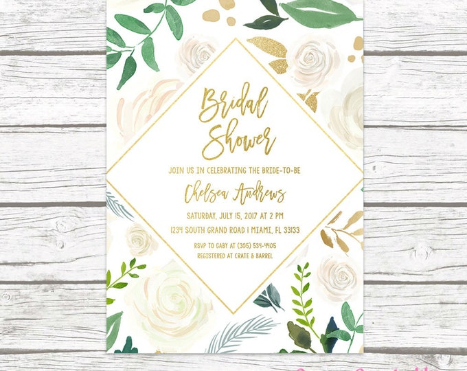 Bridal Shower Invitation, Bridal Shower Brunch Invitation, Bridal Brunch, White and Gold Bridal Shower Invitation, Rustic Bridal Shower