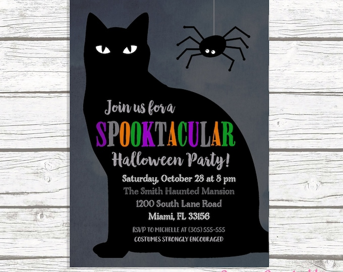 Halloween Party Invitation, Black Cat Halloween Party Invitation, Costume Party Invitation, Black Cat Invitation, Kids Halloween Invite