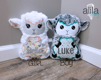 Easter gifts for baby etsy personalized stuffed lamb easter gift easter basket stuffer baby toddler kid negle Images
