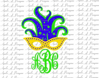 Mardi Gras Feather Mask Monogram, Mardi Gras, Fat tuesday, SVG, DXF, PDF