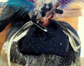 Fairy Doll. Felted Fairy. Raven, violin, pumpkin.