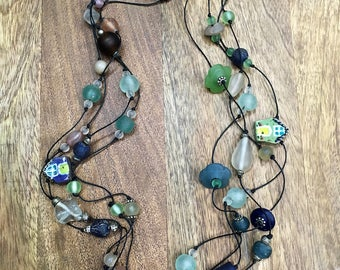 Beach Houses, Sea Glass and African Recycled Glass Bead Necklace, Hand-Knotted