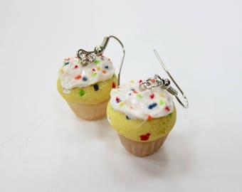 Miniature Confetti Cupcake Earrings, Funfetti Cake, Rainbow Jewelry, Cupcake Jewelry, Mini Food, Miniature Food Jewelry, Stocking Stuffer