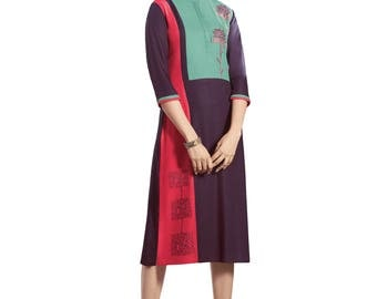 Indian Pakistan Bollywood Designer Kurta Kurti Designer Women Ethnic Dark Magneta Colored Modal kurtis kurta Top Tunic Kurta women kurti top