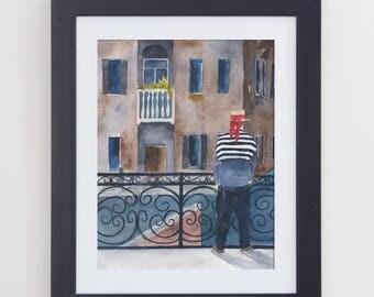 Original Watercolor Venice Scene Painting