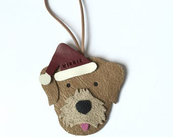 Border Terrier Leather Christmas Ornament Santa Terrier Xmas Gift Bauble Leather Border Terrier Hanging Gift