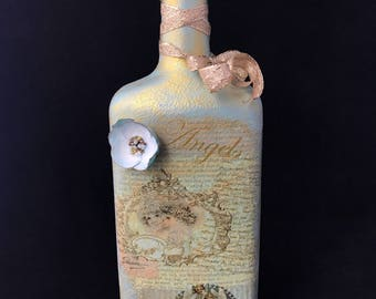 Decoupage.Wine Glass Bottle.Decorated Bottle.Home Decor.Table Display.Centerpiece.Vase.Angels.Unique Gift.Display.Custom.Glass Art.