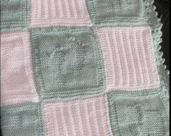 Personalized baby Elephant Blanket// Baby Elephant blanket with babies name// Knit baby blanket with fleece backing// Baby Elephant blanket