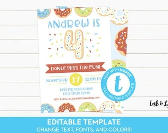 Doughnut Fourth Birthday - Boy Donut Party Invitations - 4th Birthday - Editable Birthday Invitation - Printable Invitation - Templett