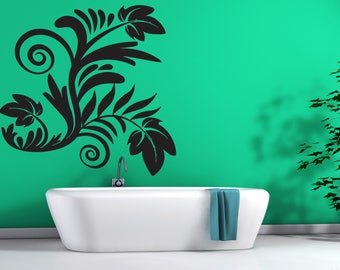 Large Wall Vinyl Decal Beautiful Floral Decoration For Living Room Bedroom (2417dn)