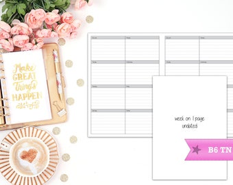week on 1 page printable planner insert - B6 Travelers Notebook - TN - print at home - planner refill - WO1P - weekly agenda - undated